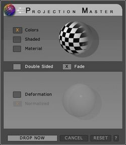 Projection Master dialogue