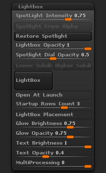 Preferences > LightBox sub-palette