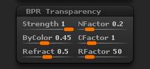 Render > BPR Transparency sub-palette