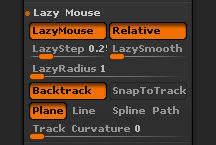 Stroke > Lazy Mouse sub-section