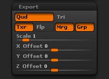 Tool > Export sub-palette