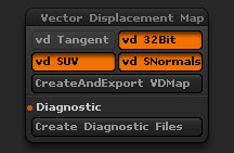 Tool > Vector Displacement Map sub-palette