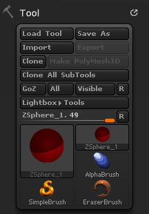 Tool palette with ZSphere selected