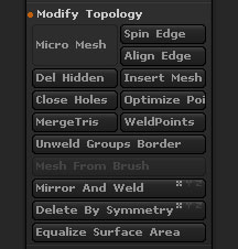Tool>Geometry>Modify Topology section
