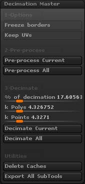 The Decimation plugin with its tools and options.