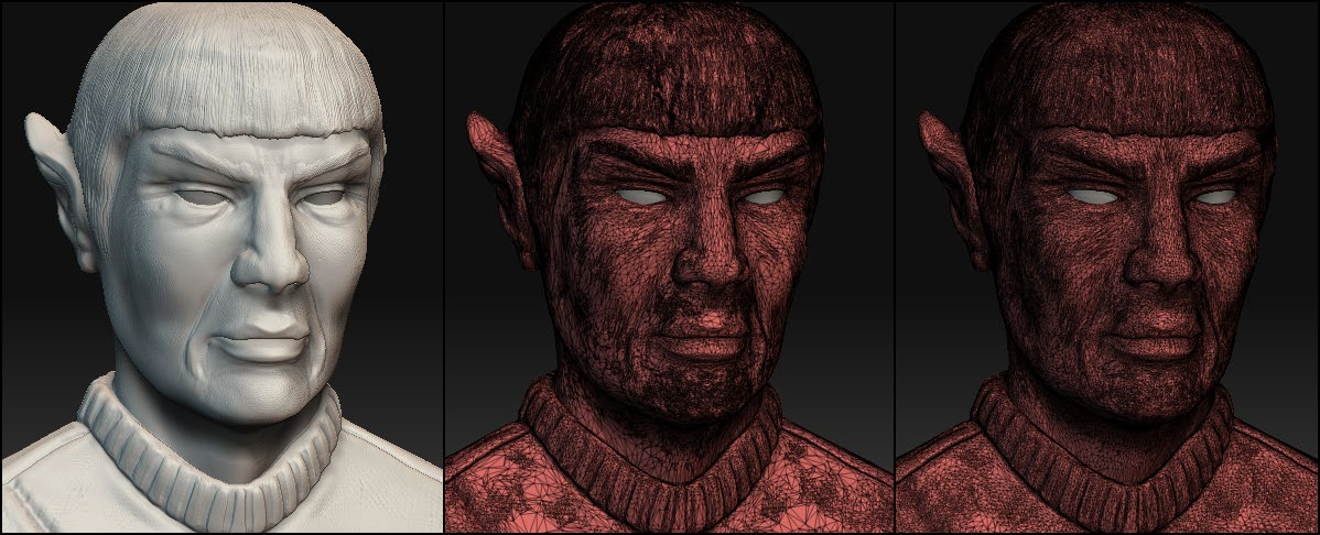 On the left, the original model. On the middle, the default mode. On the right, the Uniform Mesh mode.