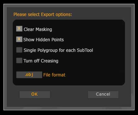 The Export options