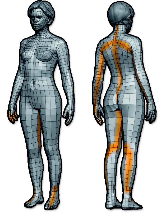 In orange, the UV seams created by UV Master, visible through the Check Seams mode.