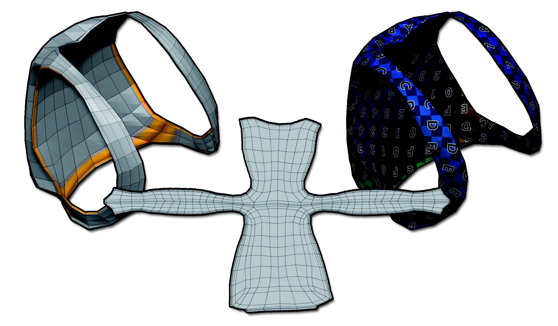 The DemoSoldier backpack. On the left, the computed seams with cutting seams on the bottom of the handles. On the middle, the result of the unwrap and on the right, the model with an UV checker map to visualize the result.