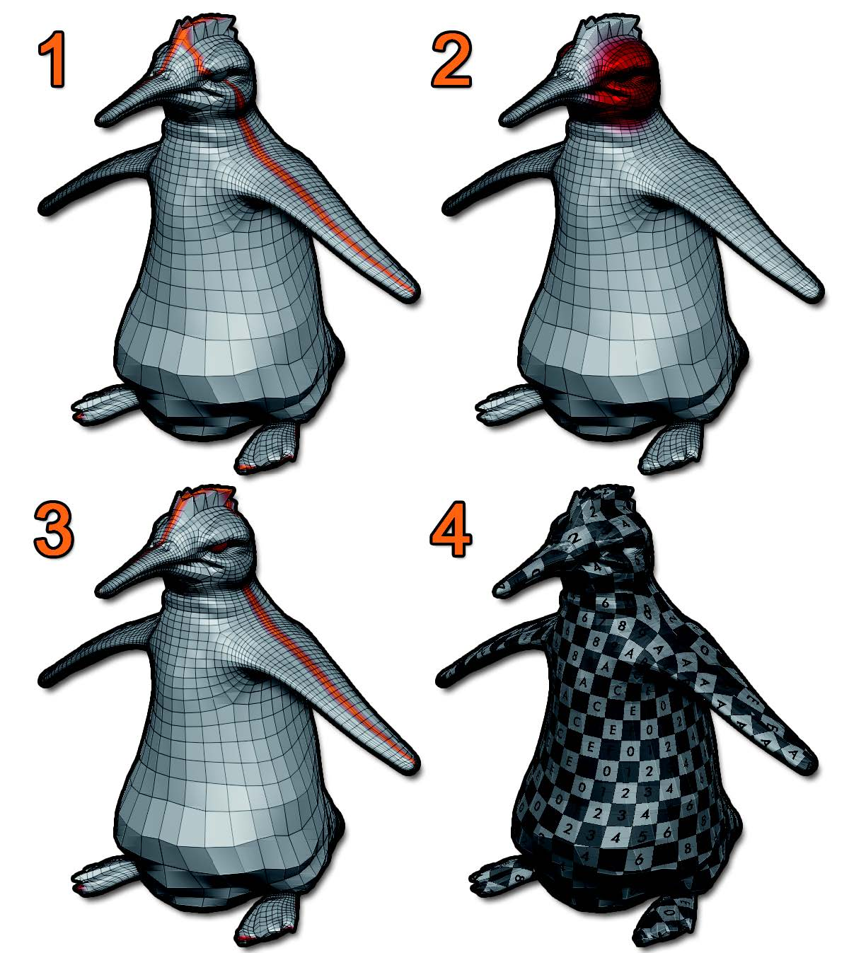 By default, UV Master will add a seam to this penguin in the middle of the eye area (1). Protecting this area with Protect Control Painting (2) will avoid creation of the seam in this part with a new Unwrap (3). The generated UVs (4) with an UV checker map provide a good preview of the UVs.