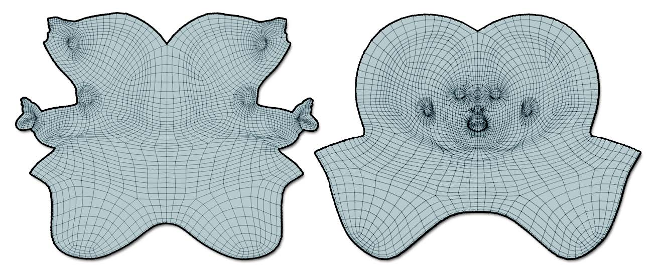 On the left, the unwrap of the Demo head with no Attract and no Protect: the unwrap produced very good results, but the UV map is difficult to read. On the right, with the Protect and Attract painted from the illustration above, the result is easy to read and then paint over. With just a couple of fast strokes, the unwrap understandability has been drastically improved.