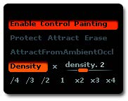 The density settings with Density mode enabled on the top and the multiply or divide operator combined with the value slider on the right. Under these settings are the different presets.
