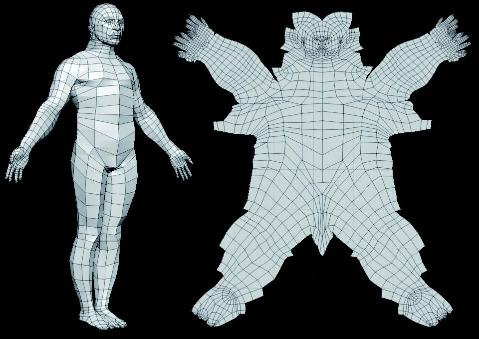 The DemoSoldier in 3D on the left and flattened, based on its UVs, on the right.