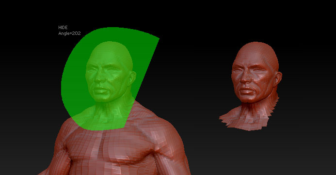 Selecting part of the mesh. On the left: the Lasso is used to select the head. On the right: the result.