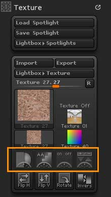 Spotlight buttons in the Texture palette