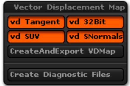 The Vector Displacement Map sub-palette, located in the Tool palette