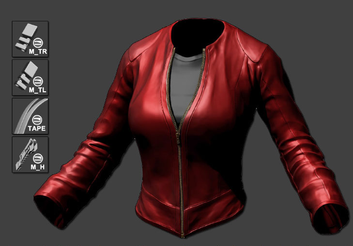 "An example of a jacket using some of the new options: custom inserted mesh, tri part mode and more. On the top left, the Metal InsertMultiMesh brush created by the Artist Geert ""Etcher"" Melis"