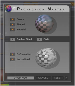 Projection Master dialog