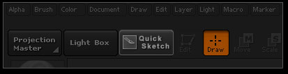 QuickSketch button at the top left of the interface