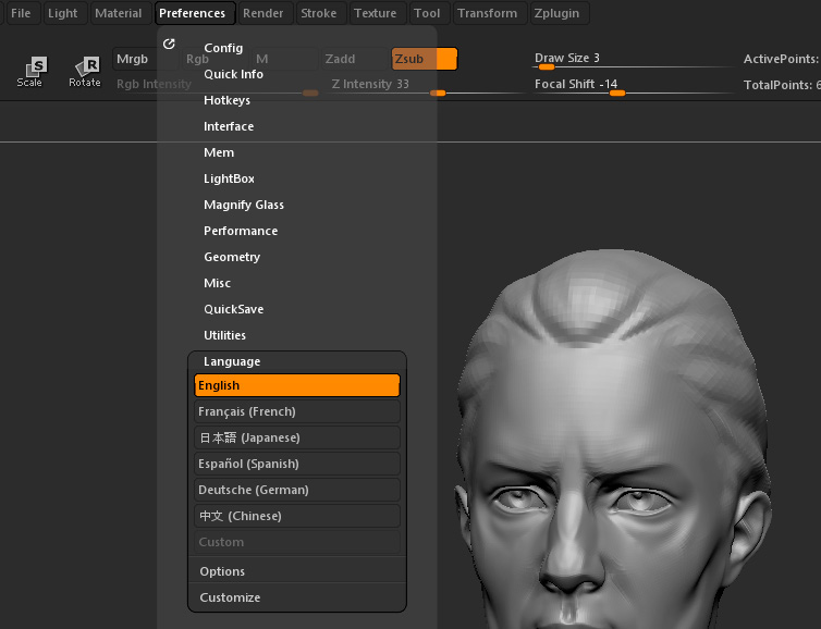 Set Your Language | ZBrush Docs