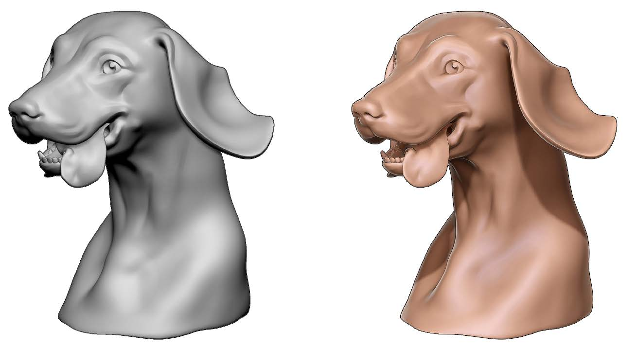 On the left, the render displayed in real-time and on the right, the BPR render of the same model, ready to be exported.