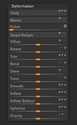 Deformation sub-palette