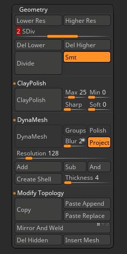Geometry sub-palette